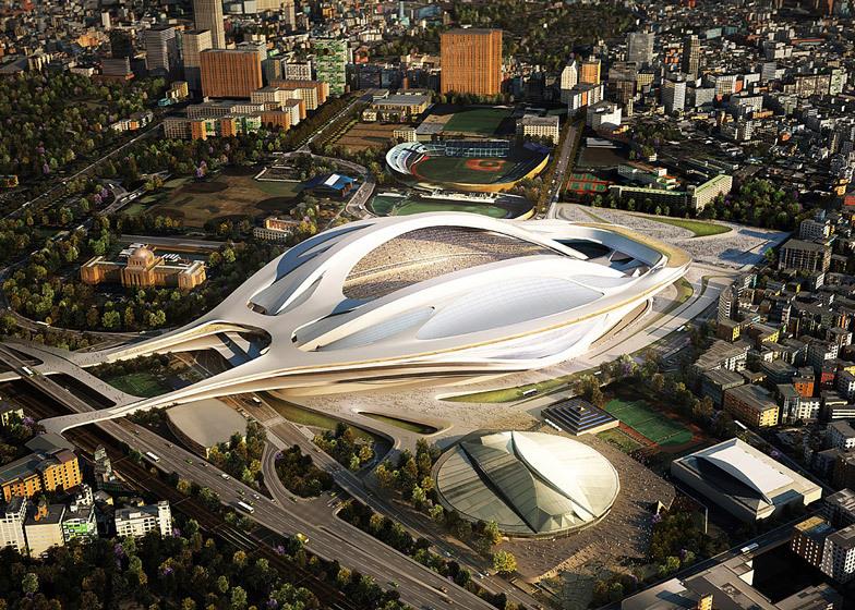 Plan voor het Olympisch Stadion gemaakt door Zaha Hadid